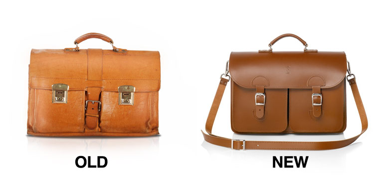 Leather satchel, old and new