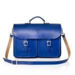Leren schoudertas - OldSchool Bags XL kobaltblauw