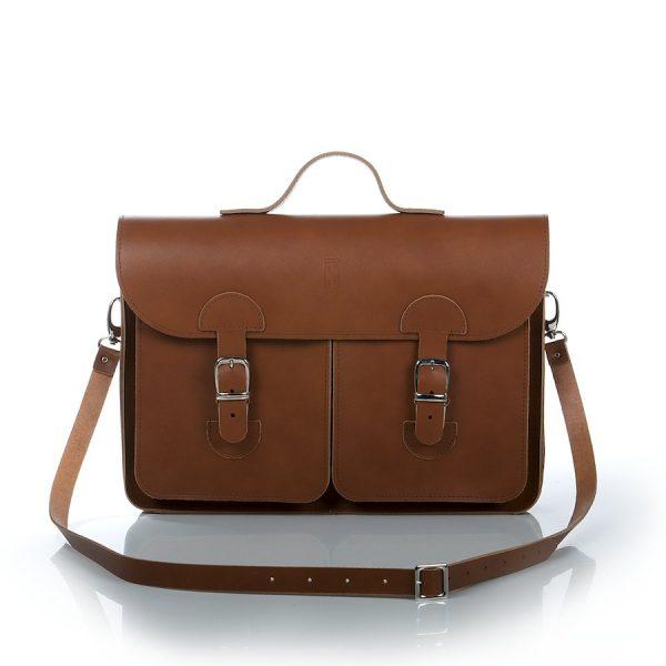 Schooltas Aktetas - OldSchool Bags - Large - kastanjebruin