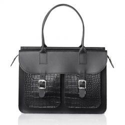 Schoudertas dames - OldSchool Bags The Ivy (black&croc)
