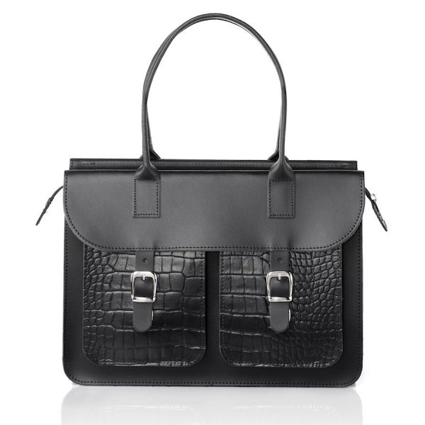 Schoudertas dames - OldSchool Bags The Ivy (black&croc)