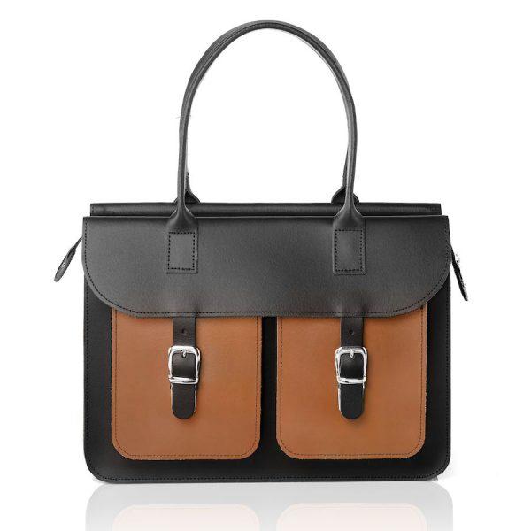 Schoudertas dames - OldSchool Bags The Ivy (zwart&bruin)