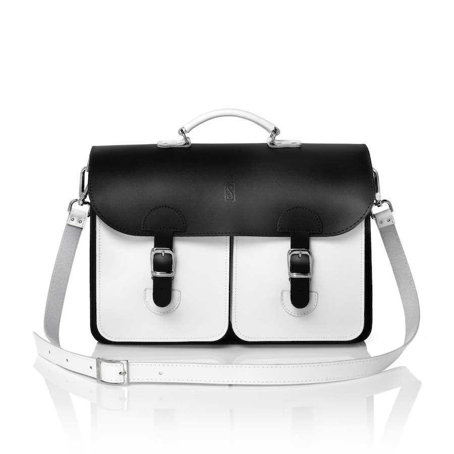 Schoudertas leer - OldSchool Bags XL zwart-wit