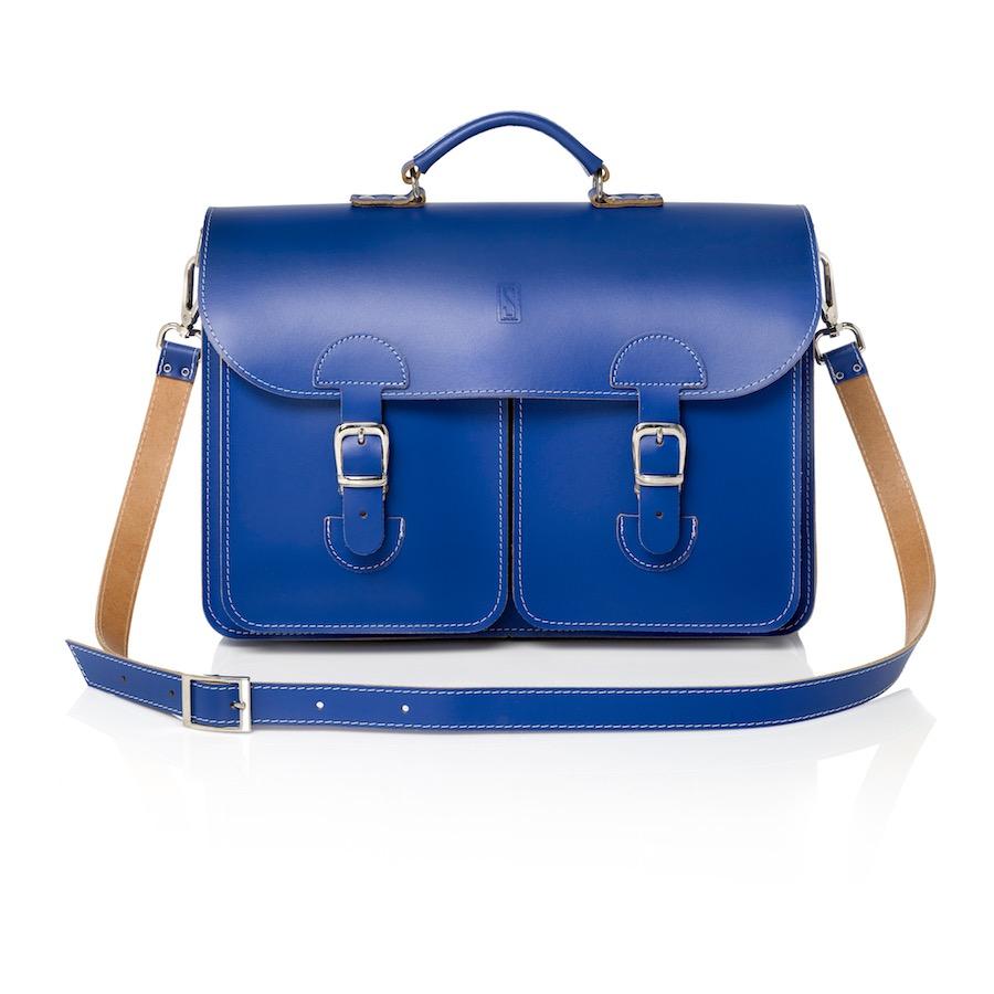 Leren schooltas blauw / kobalblauw