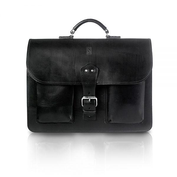 Vintage Leder Aktentasche - schwarz