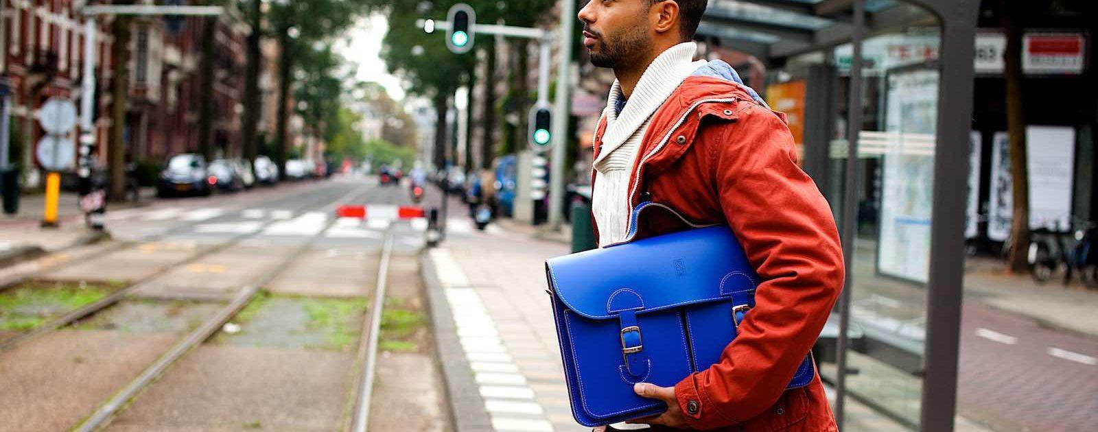 Buy a satchel? Beautiful OldSchoolBags satchel in cobalt blue