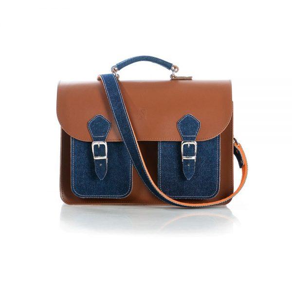 Denim Leather Satchel