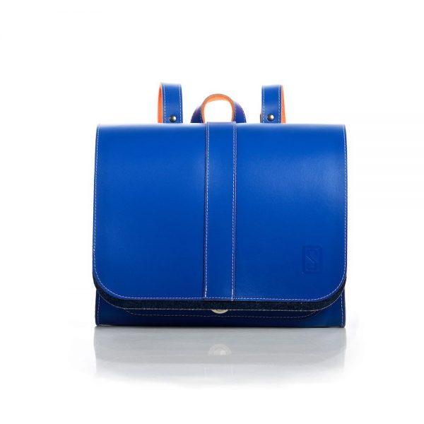 Leather backpack in cobalt blue