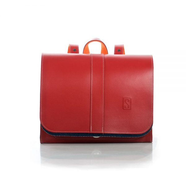 Leather red backpack
