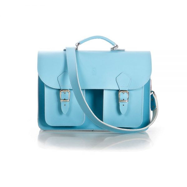 Baby Blue Leather Satchel