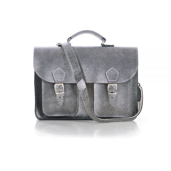 Silver leather satchel