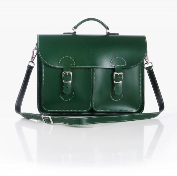 Leren schooltas XL - Racing green