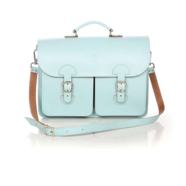Leather satchel XL - aqua