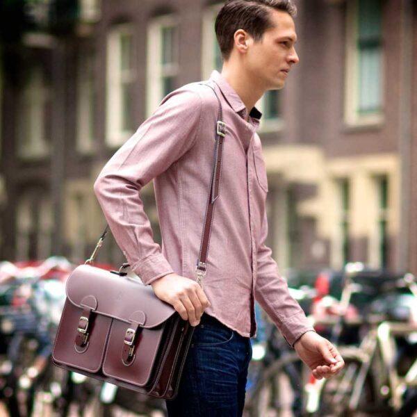 Leather satchel XL - burgundy