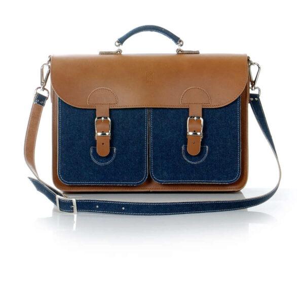 Leather satchel XL - denim