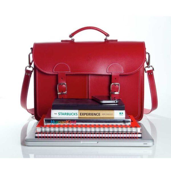 Leather satchel XL - front view