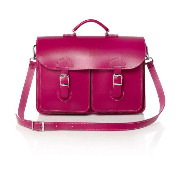 Leather satchel XL - fuchsia