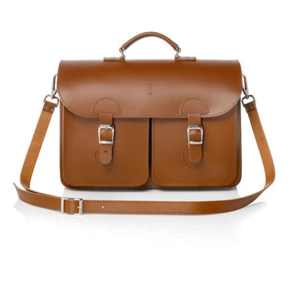 Leather satchel XL - chestnut brown
