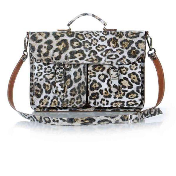 Leather satchel XL - leopard print