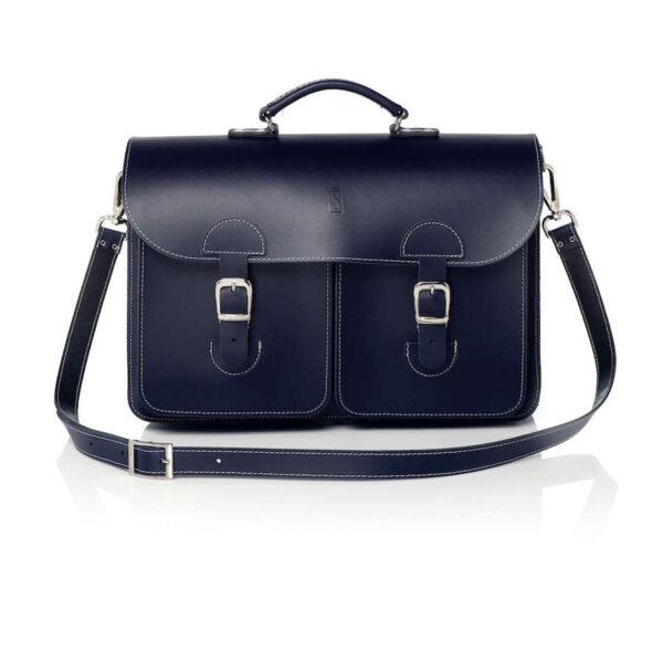 Leather satchel XL - navy blue