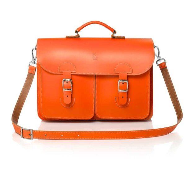 Leather satchel XL - orange