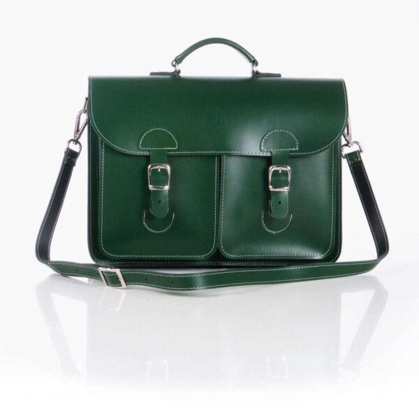 Leather satchel XL - racing green