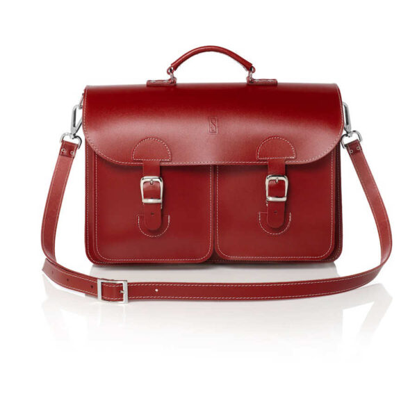 Leather satchel XL - red