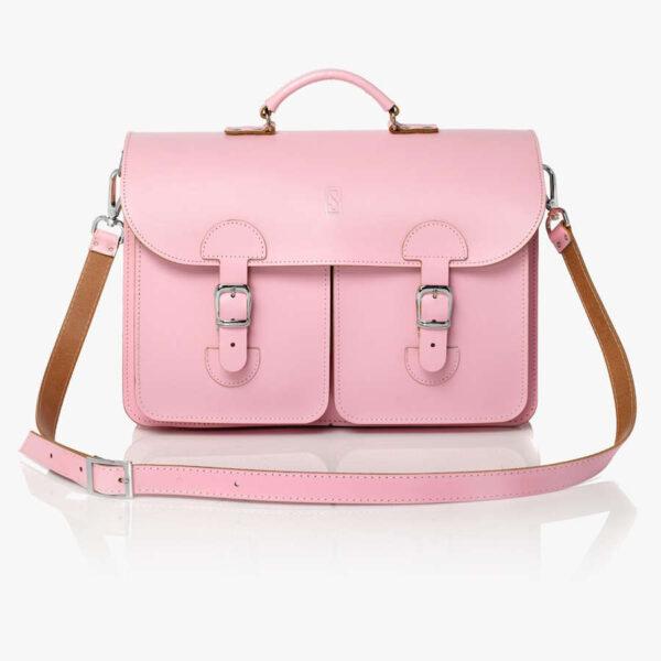 Leather satchel XL - pink