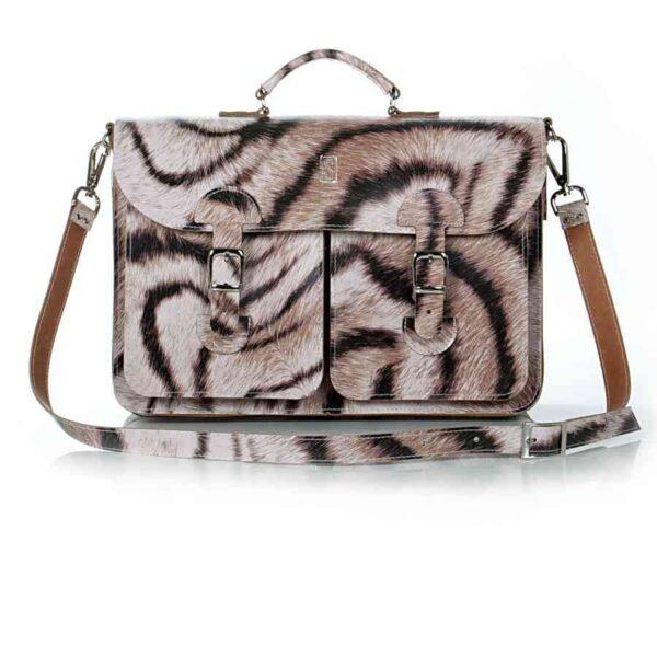 Leather satchel XL - tiger print