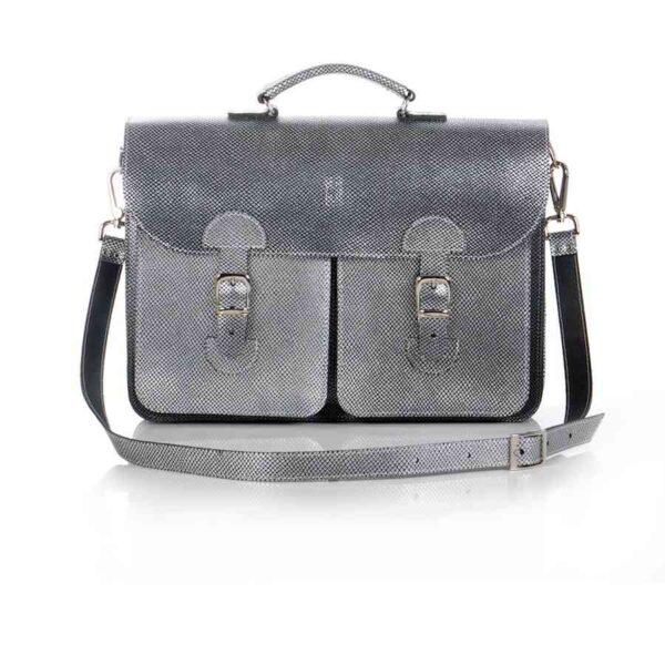 Leather satchel XL - silver