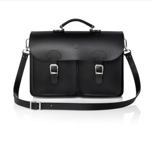 Leather satchel XL - black