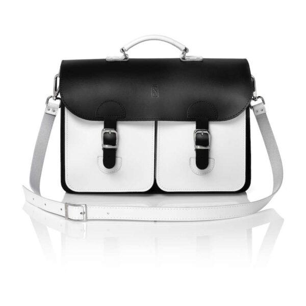 Leather satchel XL - black&white